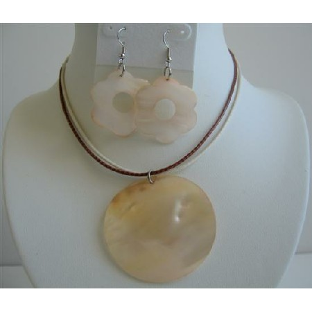 Natural Shell Round Pendant w/ Shell Flower Earrings
