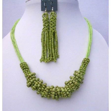 Multi Strand Green Jewelry Green Beaded Necklace & Chandelier Earrings