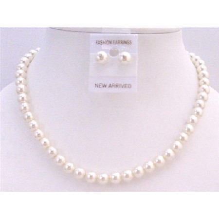 Cream Pearl Wedding Jewelry Set Stud Earrings Necklace Inexpensive