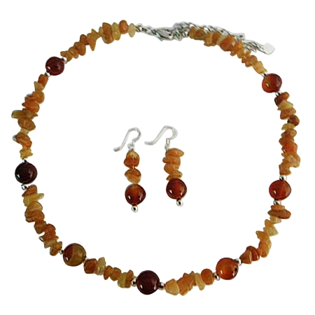 Carnelian Bead Jewelry 9mm Carnelian & Carnelian Nugget w/ Silver Beads Spacer Necklace & Sterling Silver Earrings