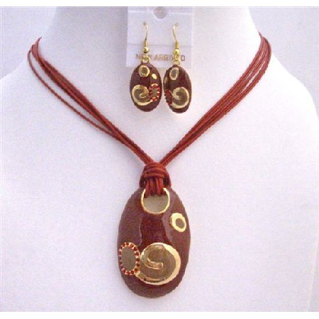 Red Enamel Jewelry Set w/ Self Painted Designed Pendant Jewelry Set