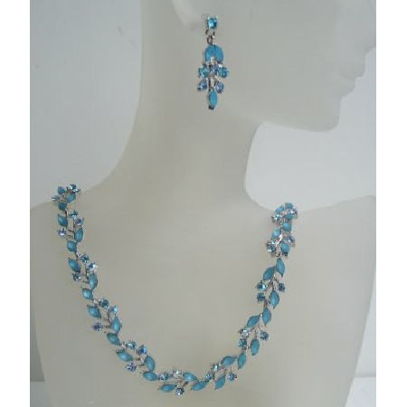Blue Crystal Necklace Earring Set Necklace Set Adorned w/ Aquamarine Crystals