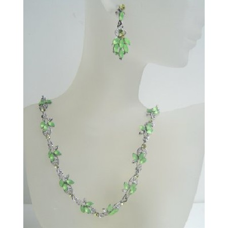 Green Peridot Enamel Crystal Necklace Earring Set Adorned w/ Peridot Crystals In Silver Casting