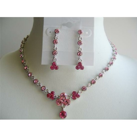 Vintage Pink Crystal Jewelry Adorned Lite & Dark Fushcia Pink Crystal In Silver Casting Necklace Set