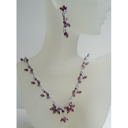 Vintage Amethyst Crystal Flower Dangling Necklace Earrings Set Adorned w/ Amethyst Crystals