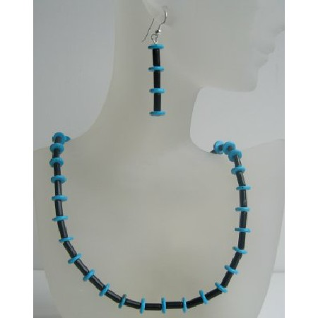 Onyx Tube & Turquoise Rings Necklace Set Custom Bead Jewelry Set w/ Sterling Silver Earrings