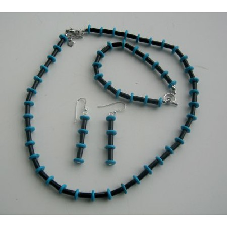 Necklace Onyx Tube & Turquoise Rings Jewelry Set Handcrafted Bead Jewelry Set w/ Sterling Silver Earrings