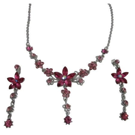 Fashion Crystal Jewelry Pink crystal Dangling Necklace Earrings Set Adorned w/ Pink Crystals
