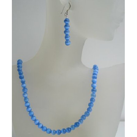 Sterling Silver 6mm Blue Cat Eye Stone Bead Beaded Dangle Hook Earrings Necklace Jewelry Set