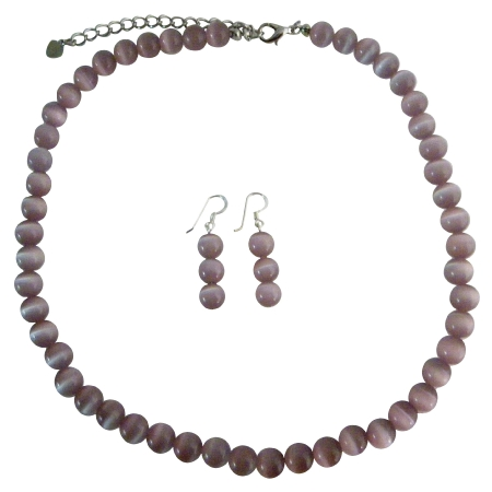 Purple Cats Eye Stone 6mm Bead Necklace Set Handcrafted Custom Cat Eye Jewelry w/ Sterling Silver Earrings
