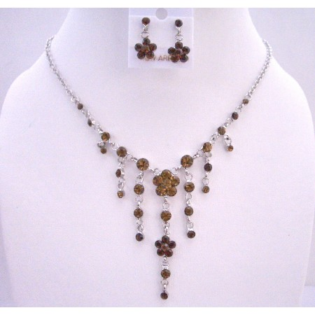Smoked Topaz Crystals Dangling Flower Jewelry Set Simulated Crystal Necklace Set