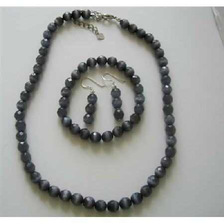 Sterling Silver 8mm Black Cats Eye Stone Bead Beaded Dangle Hook Earrings Stretch Bracelet Necklace Jewelry Set