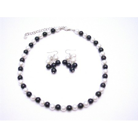 Simulated Pearls Black & White Jewelry Set w/ Dangling Pearls Earrings Necklace Sets