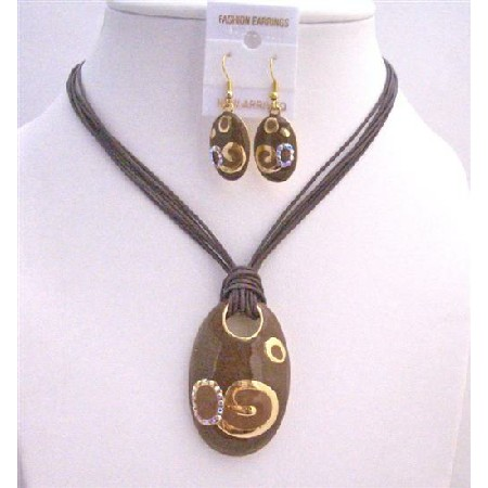Brown Gold Jewelry Set Enamel Brown Pendant w/ Paint Designed Gorgeous Necklace Set Multistranded Brown Jewelry Set