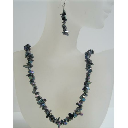 Black Nugget Necklace Set w/ Sterling Silver Earrings Metallic Black Nugget Jewelry Set
