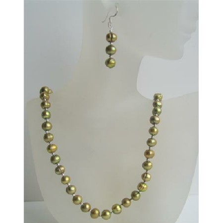 Handcrafted Custom Dyed Freshwater Pearls Jewelry Set