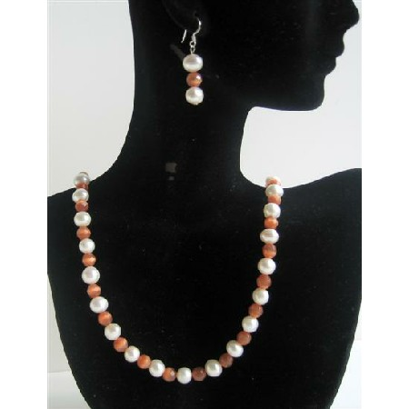 Handcrafted Freshwater Pearl Cat Eye Necklace Set Custom Bead Jewelry Set w/ Sterling Silver Earrings