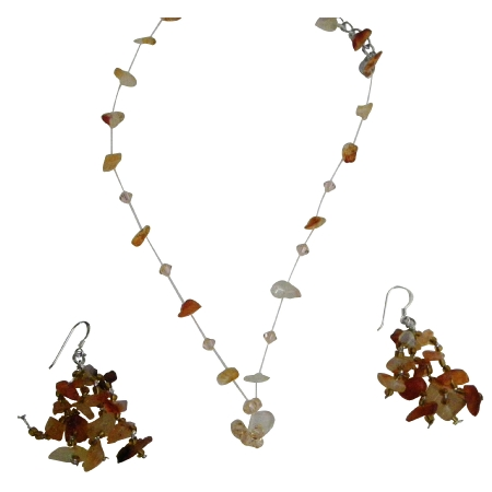 Carnelian Stone Chip & Colorado Crystal Jewelry Floating Necklace Set w/ Tassel Drop Silver Earrings