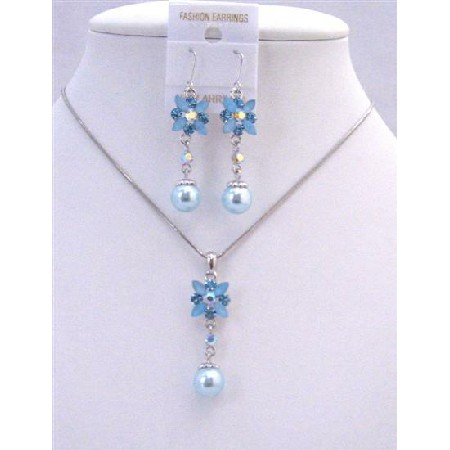 Aquamarine Blue Enamel Flower And Rhinestones w/ Cute Flower Pearl Dangling Necklace Set Beautiful Jewelry