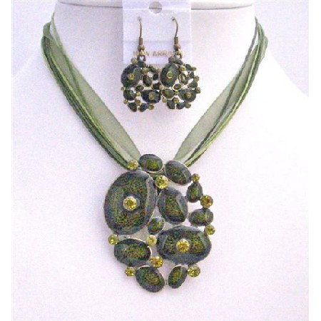 Jewelry Set Multistrand Green Enamel Necklace Set Blue Jewelry