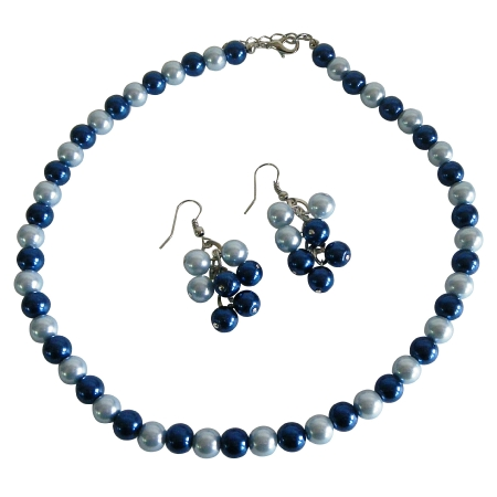 Sophisticated Necklace Set Adorned w/ Lite & Dark Dark & Lite Blue Pearls Gorgeous Jewelry Set