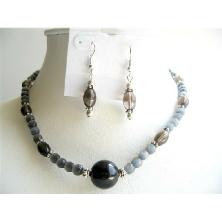 Handmade Black Cat Eye Beads w/ Smoky Quartz Barrel Beads Jewelry Sets