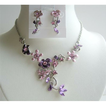 Enamel & w/ Rhinestones Purple Necklace Set Flower Danglng Jewelry Set