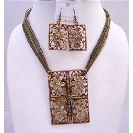 Rectangle Brown Enamel Flower Pendant Multi Stranded Stranded Necklace Traditional Jewelry Set