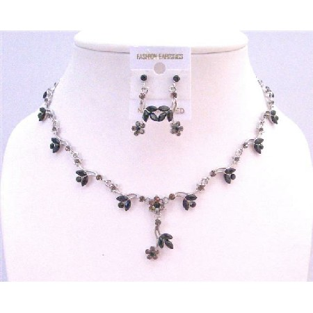 Rhinestones Black Jewelry Jet Set w/ Black Diamond Rhinestone w/ Cute Flower Danglng Necklace Set