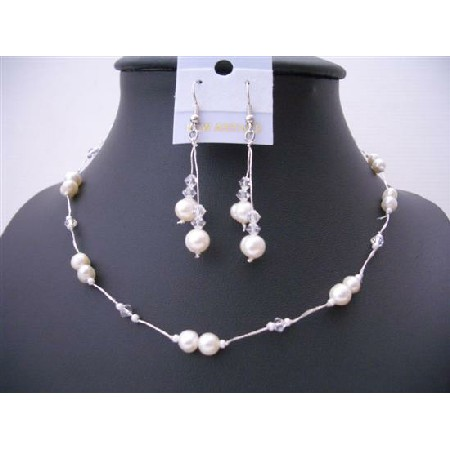 Clear Crystal And White Freshwater Pearl Choker Necklace Set Bridesmaid Wire Necklace Set w/ Dangling Earrings