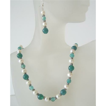 Jade Glass Bead Freshwater Pearl Handcrafted Necklace Set Custom Bead Jewelry Set Earrings