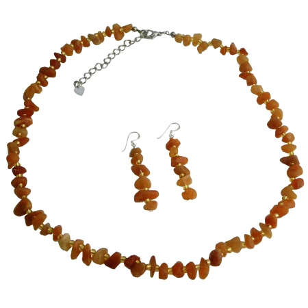 Handcrafted Amber Resin Nugget Stone Chip Necklace Sets NEW!!