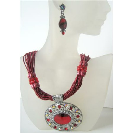 Passion Red Multi Strands Necklace w/ Striking Pendant Crystal & Rhinestones