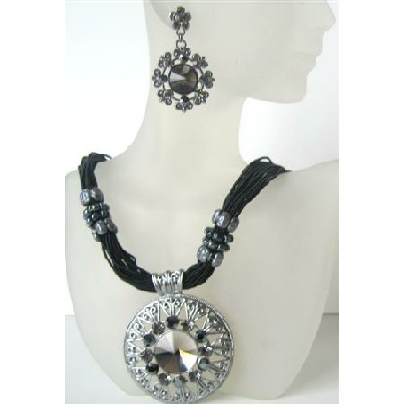 Black Multi Strands Necklace w/ Striking Pendant Crystal & Rhinestones