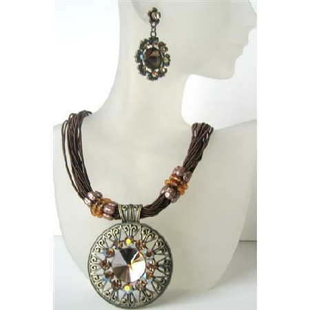 Brown Multi Strands Necklace w/ Striking Pendant Brown Crystal & Rhinestones