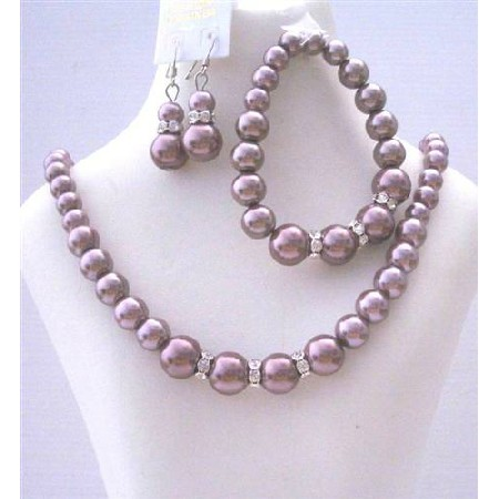 Bridal Bridesmaid Simulated Burgundy Pearls Necklace Set w/ Stretchable Bracelet Silver Earring