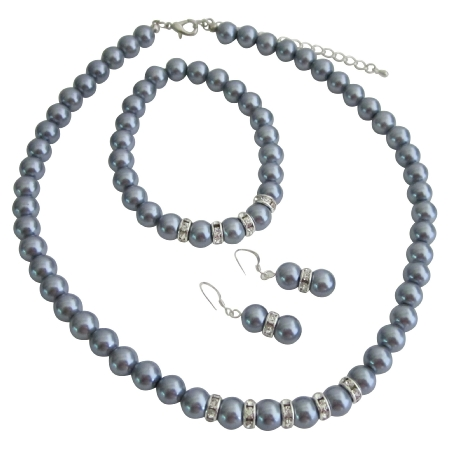 Bridesmaid Pearl Jewelry Set Grey Faux Pearl Necklace Sterling Silver Earring w/ Stretchable Bracelet