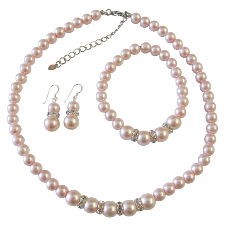Pink Pearl Jewelry Set Bridal Bridsemaid Faux Necklace Sterling Silver Earring W Stretchable