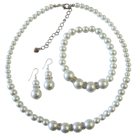 Soothing White Pearls Bridesmaide Pearl Jewelry Set White faux Pearl Necklace Sterling Silver Earring w/ Stretchable Bracelet