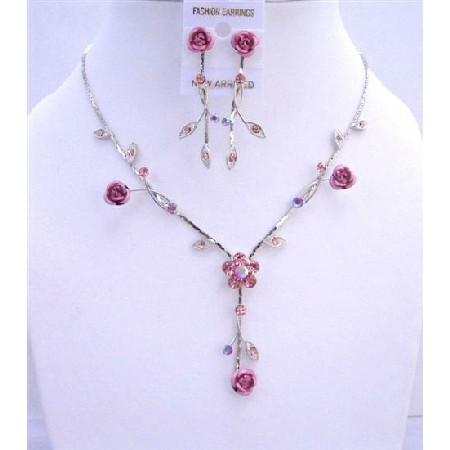 Pink Flower Enamel Y Shaped Jewelry Set w/ Sparkling Fuchsia Crystals