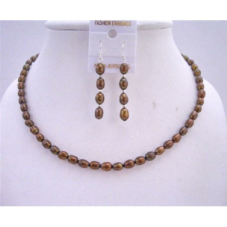 Wedding Bridal Bridesmaid Metallic Brown Freshwater Pearls Necklace Set w/ Sterling Silver Earrings