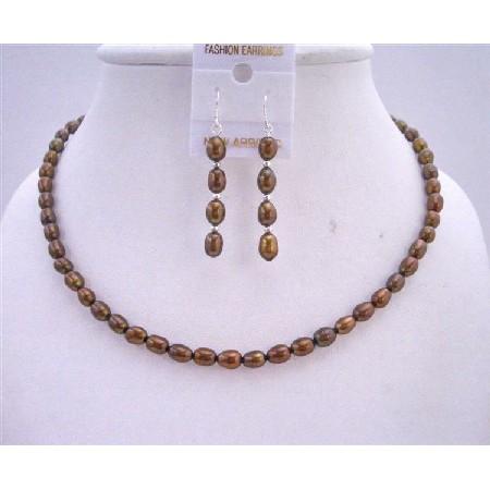 Wedding Bridal Bridesmaid Metallic Brown Freshwater Pearls Necklace Set w/ Sterling Silver Earrings