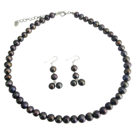 Brown Freshwater Pearl Jewelry Set Metallic Brown Purplish Freshwater Pearl Necklace Set