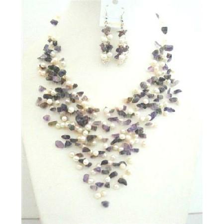 Amethyst Stone Nugget FresshWater Pearl Amethyst & Freshwater Pearl w/ Sterling Silver Earrings