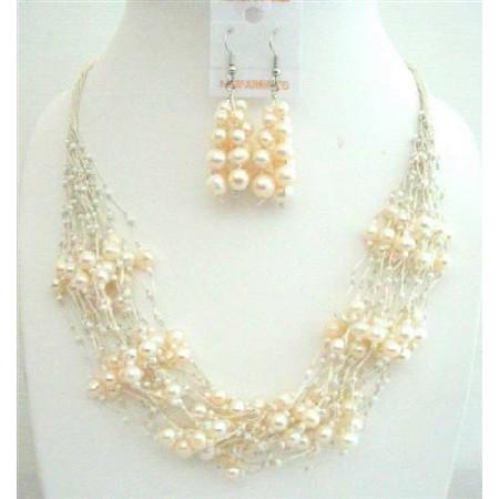 FresshWater Pearl Milky Glass Beads Jewelry Sets Multi Silver strands Necklace w/ Sterling Silver Earrings