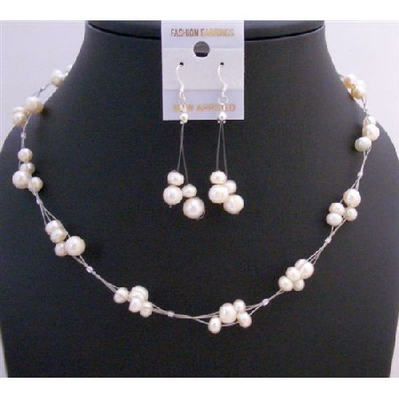 Ivory Freshwater Pearl Choker Set Bridesmaid Interwoven Wire Necklace Set Beautiful Dangling Earrings