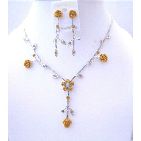 Topaz Crystal Flower Jewelry Set Drop Y Shaped Sparkling Crystal Enamel Flower Necklace Set