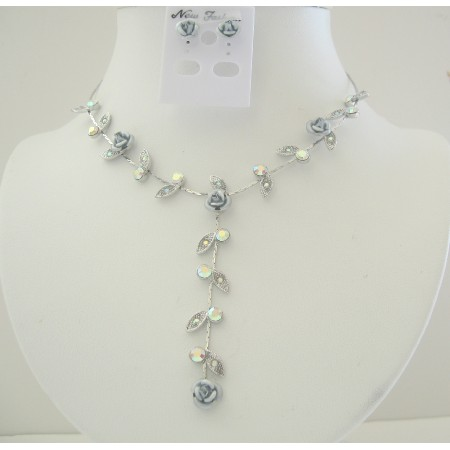 Grey Enamel Flower & Crystal Jewelry Set Drop Down Y Shaped Necklace Set