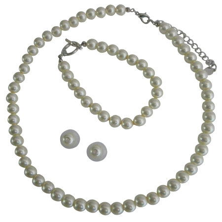 Complete Set Cream Pearl Necklace Earrings Toggle Clasp Bracelet Exclusive Handmade Jewelry