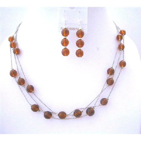Brown Faceted 3 Strands Necklace Set w/ Sterling Silver Earrings & Beads Jewelry Set